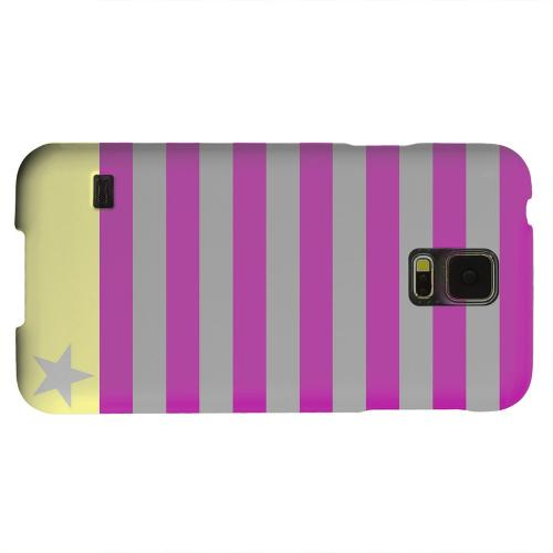 Geeks Designer Line (GDL) Samsung Galaxy S5 Matte Hard Back Cover - Bars & Stripes Forever on Purple/ Yellow