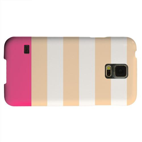 Geeks Designer Line (GDL) Samsung Galaxy S5 Matte Hard Back Cover - Pink Candy Stripes w/ Pink Bar