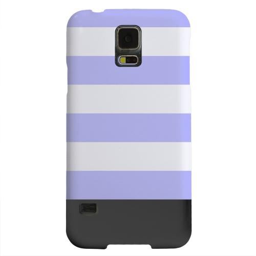 Geeks Designer Line (GDL) Samsung Galaxy S5 Matte Hard Back Cover - Purple Candy Stripes w/ Black Bar