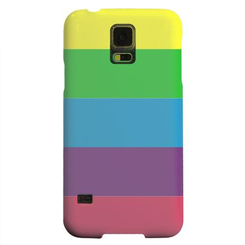 Geeks Designer Line (GDL) Samsung Galaxy S5 Matte Hard Back Cover - Rainbow Candy Stripes
