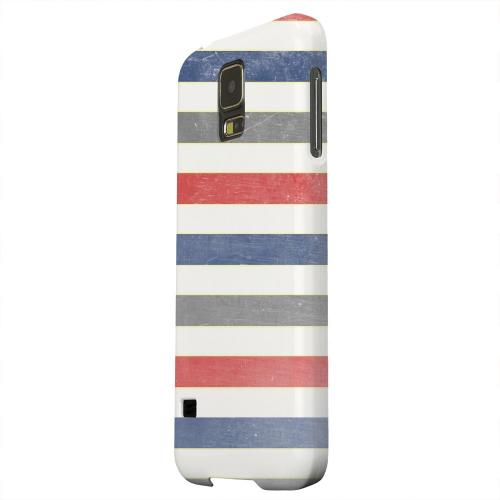 Geeks Designer Line (GDL) Samsung Galaxy S5 Matte Hard Back Cover - Stripey Blue/ Red