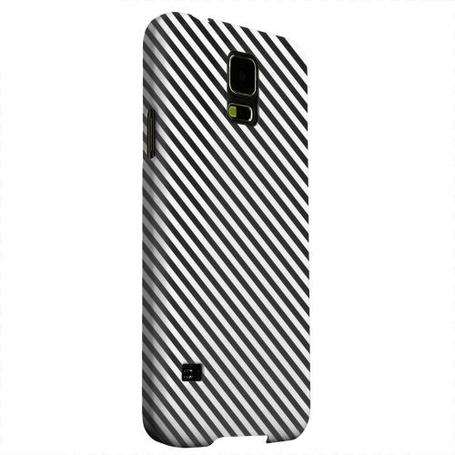 Geeks Designer Line (GDL) Samsung Galaxy S5 Matte Hard Back Cover - Thin Black/ White Diagonal