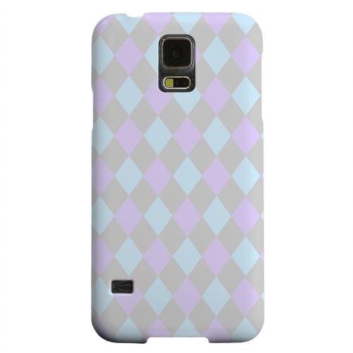 Geeks Designer Line (GDL) Samsung Galaxy S5 Matte Hard Back Cover - Gray/ Blue/ Purple Argyle