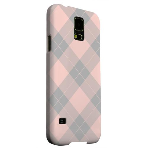 Geeks Designer Line (GDL) Samsung Galaxy S5 Matte Hard Back Cover - Pink/ Gray Simple Plaid