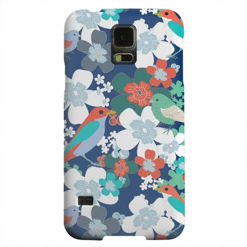 Geeks Designer Line (GDL) Samsung Galaxy S5 Matte Hard Back Cover - Birds & Flowers on Blue/ Red