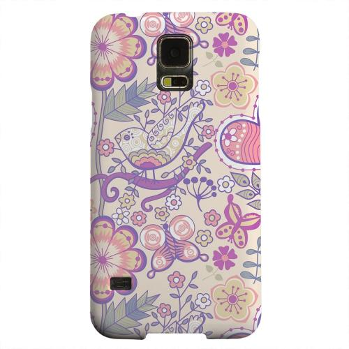Geeks Designer Line (GDL) Samsung Galaxy S5 Matte Hard Back Cover - Birds, Hearts & Flowers