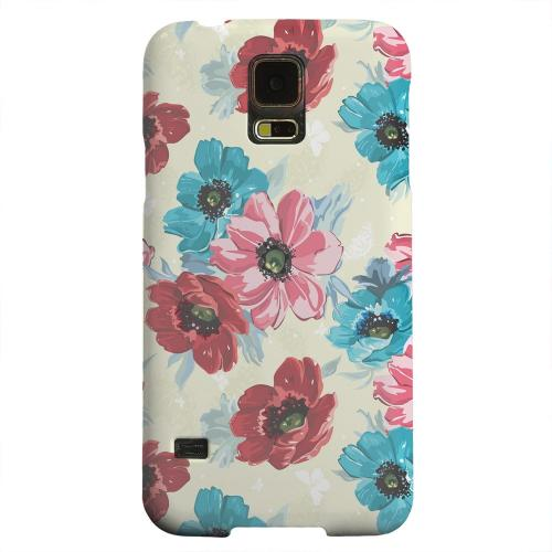 Geeks Designer Line (GDL) Samsung Galaxy S5 Matte Hard Back Cover - Blue/ Red Floral
