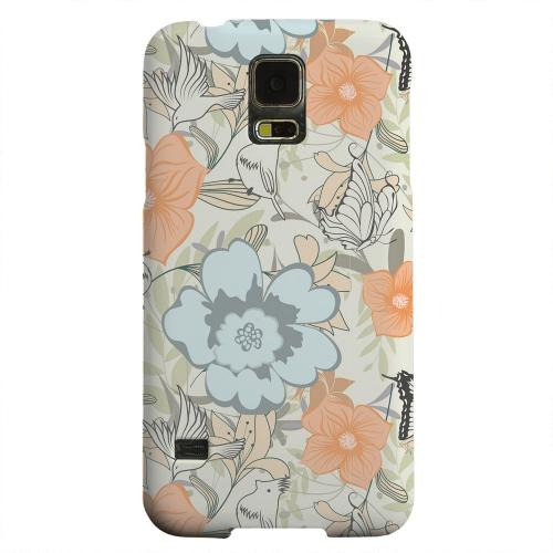Geeks Designer Line (GDL) Samsung Galaxy S5 Matte Hard Back Cover - Butterflies & Birds on Orange/ Blue