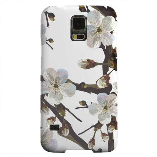 Geeks Designer Line (GDL) Samsung Galaxy S5 Matte Hard Back Cover - White Cherry Blossom