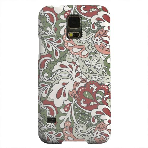 Geeks Designer Line (GDL) Samsung Galaxy S5 Matte Hard Back Cover - Green/ Red/ Pink Paisley