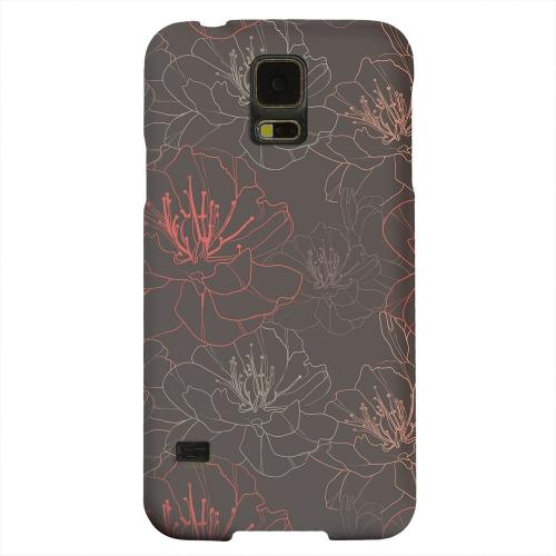 Geeks Designer Line (GDL) Samsung Galaxy S5 Matte Hard Back Cover - Flower Outline on Brown