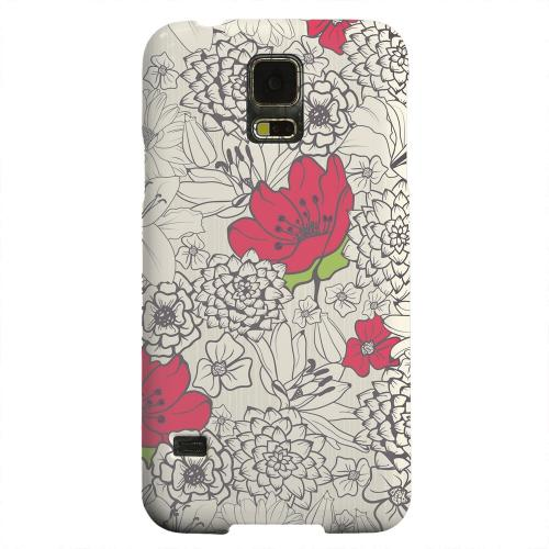 Geeks Designer Line (GDL) Samsung Galaxy S5 Matte Hard Back Cover - Flower Outline Red Accent