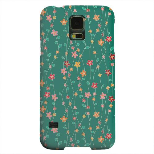 Geeks Designer Line (GDL) Samsung Galaxy S5 Matte Hard Back Cover - Flowers & Vines on Green