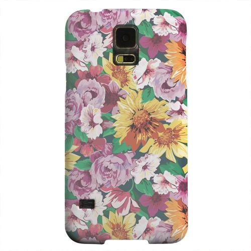 Geeks Designer Line (GDL) Samsung Galaxy S5 Matte Hard Back Cover - Pink/ Orange Flowers