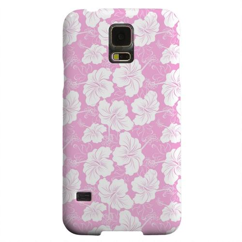 Geeks Designer Line (GDL) Samsung Galaxy S5 Matte Hard Back Cover - White Hibiscus on Pink