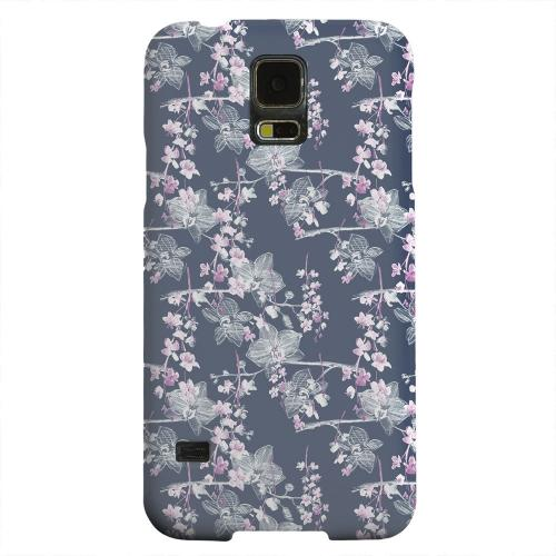Geeks Designer Line (GDL) Samsung Galaxy S5 Matte Hard Back Cover - Pink/ White Floral on Blue
