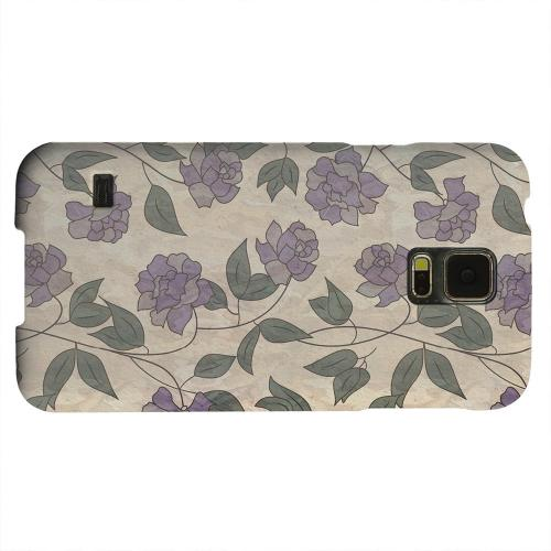 Geeks Designer Line (GDL) Samsung Galaxy S5 Matte Hard Back Cover - Purple Flowers & Vines Wallpaper