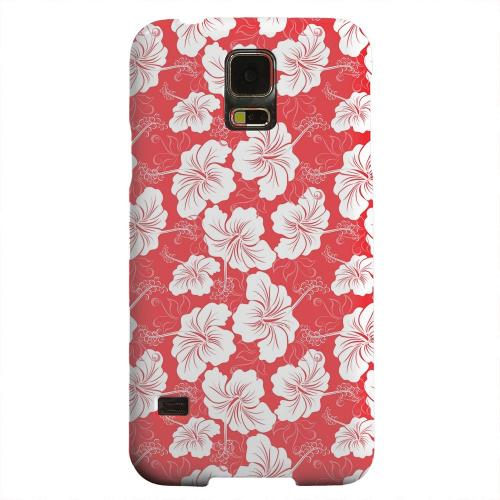 Geeks Designer Line (GDL) Samsung Galaxy S5 Matte Hard Back Cover - White Hibiscus on Red