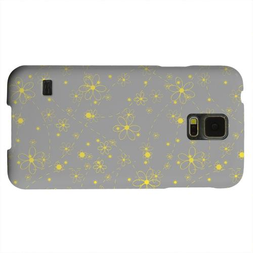 Geeks Designer Line (GDL) Samsung Galaxy S5 Matte Hard Back Cover - Yellow Daisies on Gray