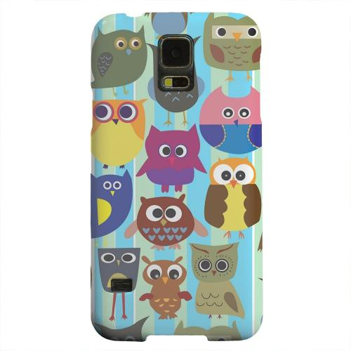 Geeks Designer Line (GDL) Samsung Galaxy S5 Matte Hard Back Cover - Colorful Owls on Blue/Green Stripes