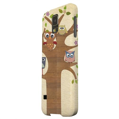 Geeks Designer Line (GDL) Samsung Galaxy S5 Matte Hard Back Cover - Owls on Brown Tree