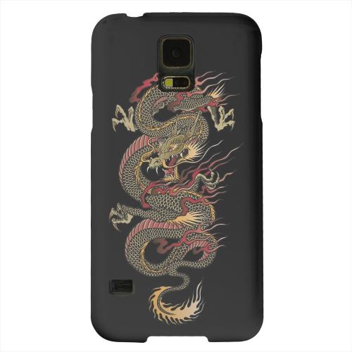 Geeks Designer Line (GDL) Samsung Galaxy S5 Matte Hard Back Cover - Dragon on Black