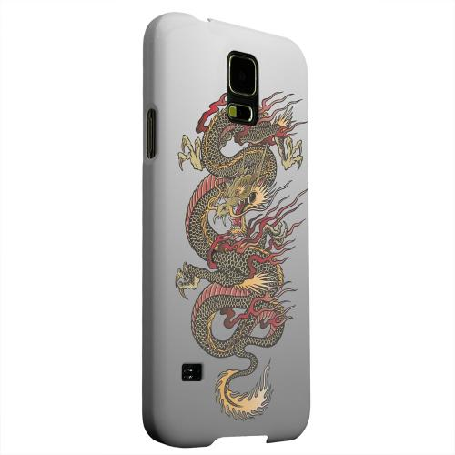 Geeks Designer Line (GDL) Samsung Galaxy S5 Matte Hard Back Cover - Dragon on Gray Gradient