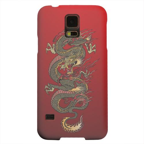 Geeks Designer Line (GDL) Samsung Galaxy S5 Matte Hard Back Cover - Dragon on Red Gradient