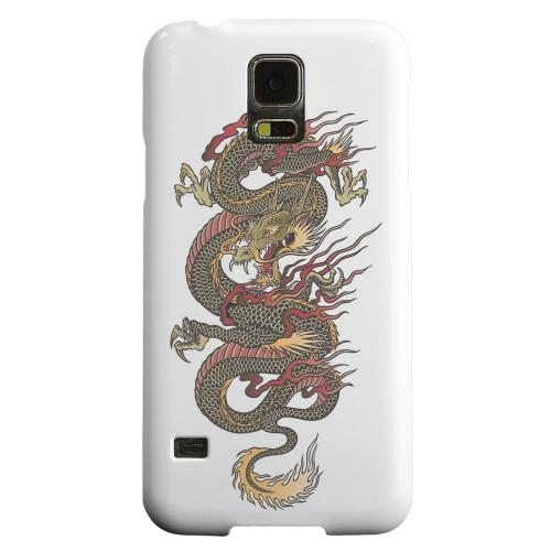 Geeks Designer Line (GDL) Samsung Galaxy S5 Matte Hard Back Cover - Dragon on White
