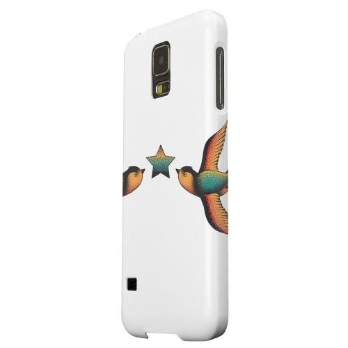 Geeks Designer Line (GDL) Samsung Galaxy S5 Matte Hard Back Cover - Dual Swallow Star on White