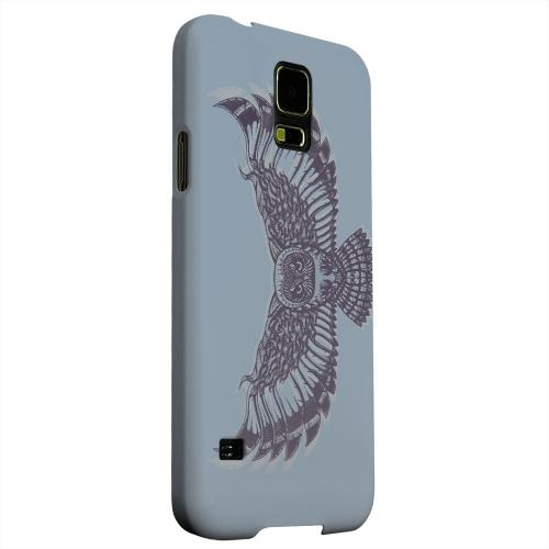 Geeks Designer Line (GDL) Samsung Galaxy S5 Matte Hard Back Cover - Flying Owl Blue/ Gray