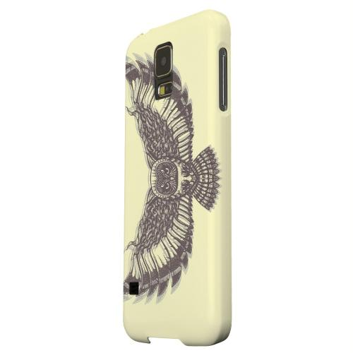 Geeks Designer Line (GDL) Samsung Galaxy S5 Matte Hard Back Cover - Flying Owl on Yellow