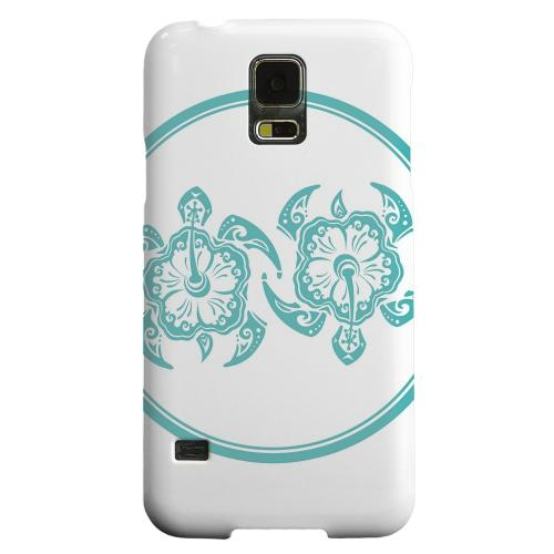 Geeks Designer Line (GDL) Samsung Galaxy S5 Matte Hard Back Cover - Aqua Island Turtle Duo