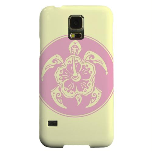 Geeks Designer Line (GDL) Samsung Galaxy S5 Matte Hard Back Cover - Pink Island Turtle Solo on Yellow