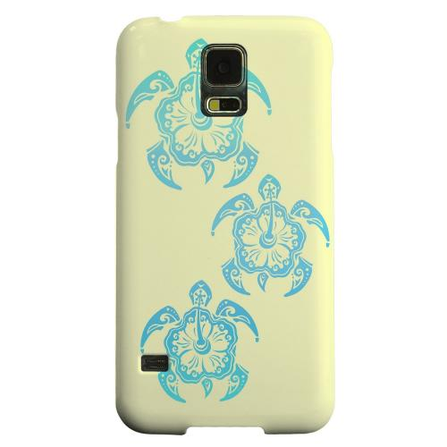 Geeks Designer Line (GDL) Samsung Galaxy S5 Matte Hard Back Cover - Blue Island Turtle Trail on yellow