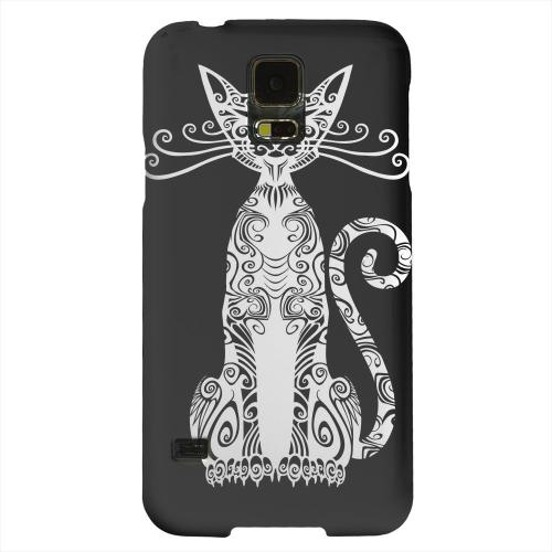 Geeks Designer Line (GDL) Samsung Galaxy S5 Matte Hard Back Cover - Kitty Nouveau on Black