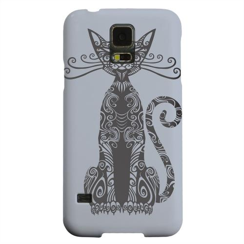 Geeks Designer Line (GDL) Samsung Galaxy S5 Matte Hard Back Cover - Kitty Nouveau on Blue/ Gray