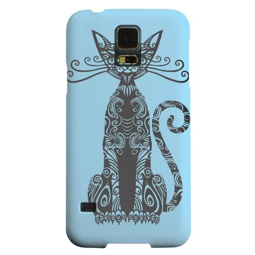Geeks Designer Line (GDL) Samsung Galaxy S5 Matte Hard Back Cover - Kitty Nouveau on Light Blue