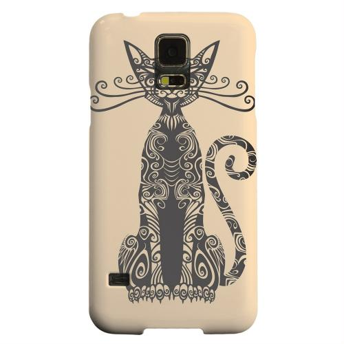 Geeks Designer Line (GDL) Samsung Galaxy S5 Matte Hard Back Cover - Kitty Nouveau on Peach
