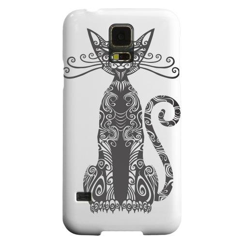 Geeks Designer Line (GDL) Samsung Galaxy S5 Matte Hard Back Cover - Kitty Nouveau on White