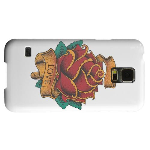 Geeks Designer Line (GDL) Samsung Galaxy S5 Matte Hard Back Cover - Love Rose on White
