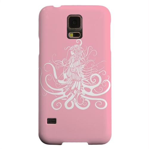 Geeks Designer Line (GDL) Samsung Galaxy S5 Matte Hard Back Cover - White Medusa on Pink