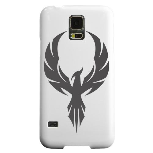 Geeks Designer Line (GDL) Samsung Galaxy S5 Matte Hard Back Cover - Black Phoenix on White