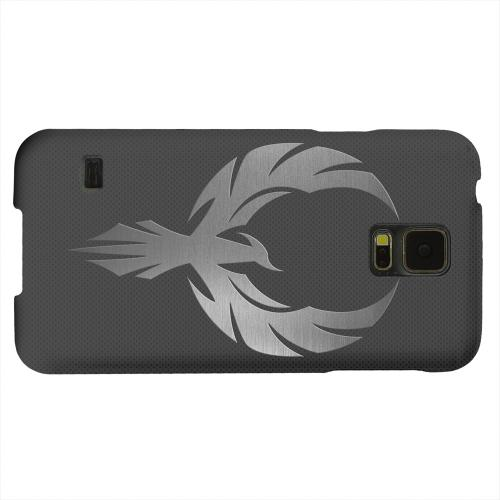 Geeks Designer Line (GDL) Samsung Galaxy S5 Matte Hard Back Cover - Phoenix Metal on Dark Gray Texture