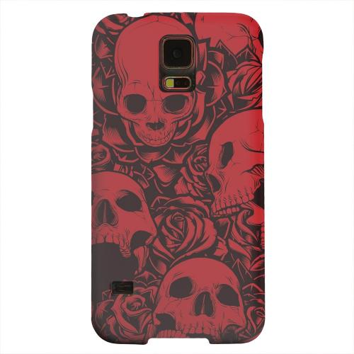 Geeks Designer Line (GDL) Samsung Galaxy S5 Matte Hard Back Cover - Skulls Rose Red/ Black
