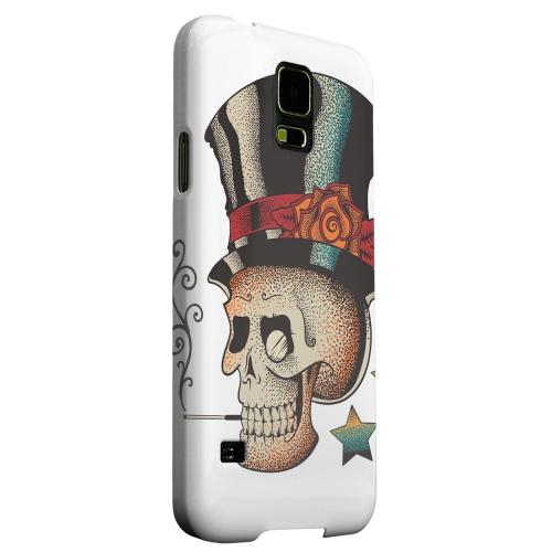 Geeks Designer Line (GDL) Samsung Galaxy S5 Matte Hard Back Cover - Smoking Skull on White