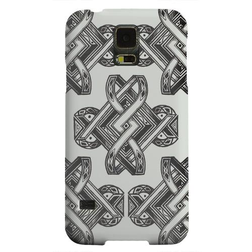 Geeks Designer Line (GDL) Samsung Galaxy S5 Matte Hard Back Cover - Tribal Art on Gray