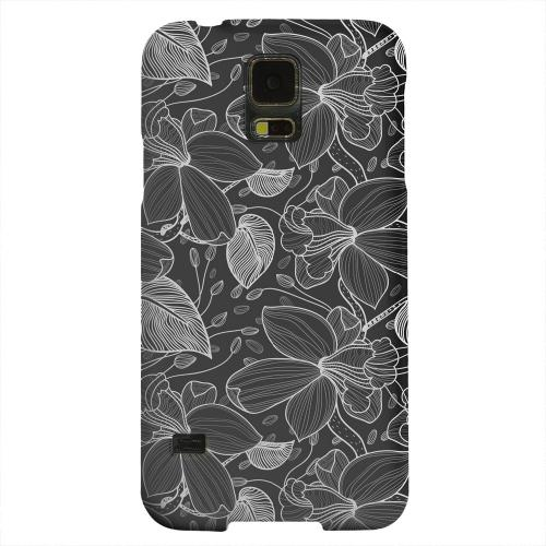 Geeks Designer Line (GDL) Samsung Galaxy S5 Matte Hard Back Cover - White on Black Orchid Lines