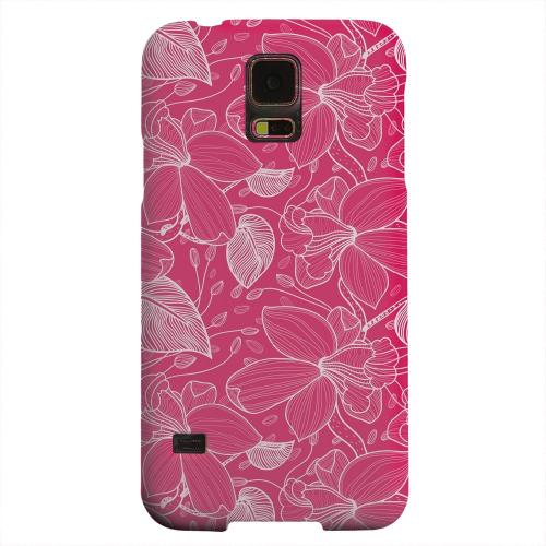 Geeks Designer Line (GDL) Samsung Galaxy S5 Matte Hard Back Cover - White on Pink Orchid Lines