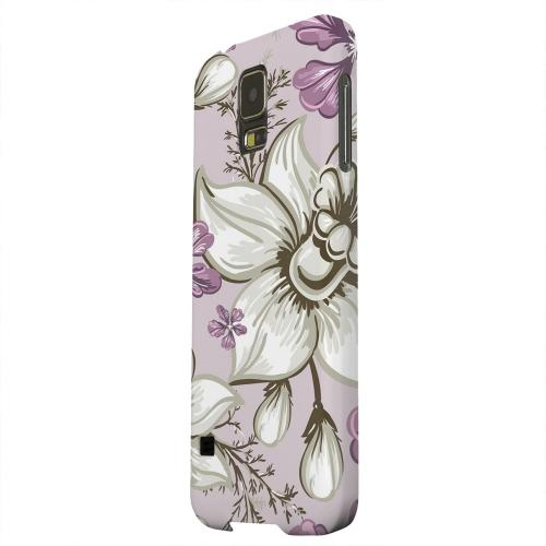 Geeks Designer Line (GDL) Samsung Galaxy S5 Matte Hard Back Cover - White and Violet Orchids